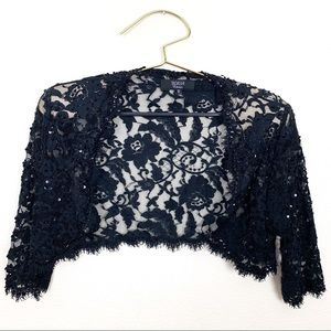Tadashi Collection Crop Lace Cardigan